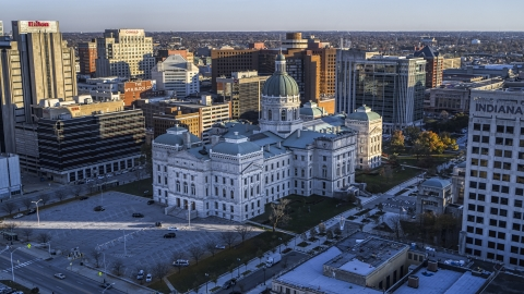 DXP001_091_0008 - Aerial stock photo of The Indiana State House in Downtown Indianapolis, Indiana