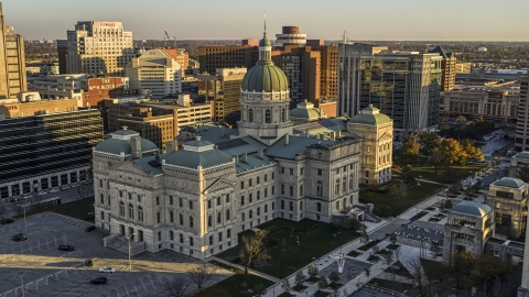DXP001_091_0010 - Aerial stock photo of The Indiana State House building in Downtown Indianapolis, Indiana