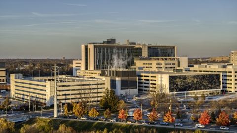 DXP001_092_0001 - Aerial stock photo of A hospital complex at sunset in Indianapolis, Indiana