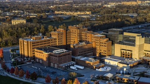 DXP001_092_0002 - Aerial stock photo of A VA hospital complex at sunset in Indianapolis, Indiana