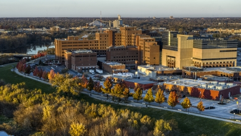 DXP001_092_0004 - Aerial stock photo of The VA hospital complex at sunset in Indianapolis, Indiana