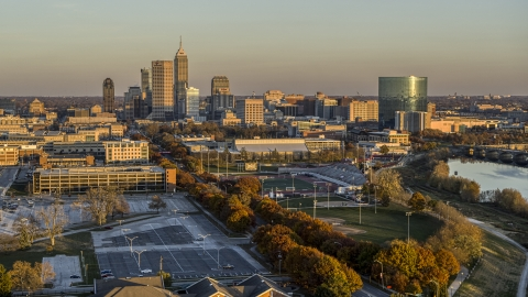 DXP001_092_0006 - Aerial stock photo of A view of the city's skyline at sunset, Downtown Indianapolis, Indiana