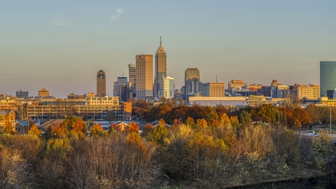 DXP001_092_0010 - Aerial stock photo of The city's skyline at sunset, seen from trees, Downtown Indianapolis, Indiana