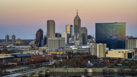 DXP001_092_0017 - Aerial stock photo of The JW Marriott hotel and city's skyline at sunset, Downtown Indianapolis, Indiana