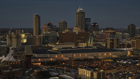 DXP001_093_0002 - Aerial stock photo of A twilight view of the city's skyline, Downtown Indianapolis, Indiana