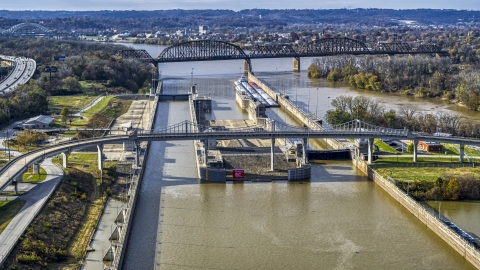 DXP001_094_0012 - Aerial stock photo of Locks and a dam on the Ohio River in Louisville, Kentucky