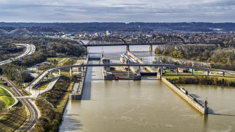 DXP001_094_0014 - Aerial stock photo of A dam and locks on the Ohio River in Louisville, Kentucky