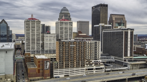 DXP001_095_0009 - Aerial stock photo of Hotel and skyline in Downtown Louisville, Kentucky