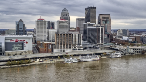 DXP001_095_0010 - Aerial stock photo of Hotel and skyline seen from the river in Downtown Louisville, Kentucky