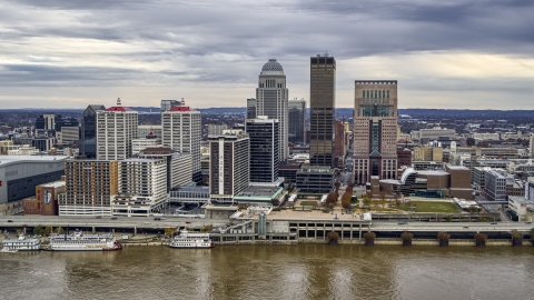 DXP001_095_0012 - Aerial stock photo of Hotel and the skyline from the Ohio River in Downtown Louisville, Kentucky
