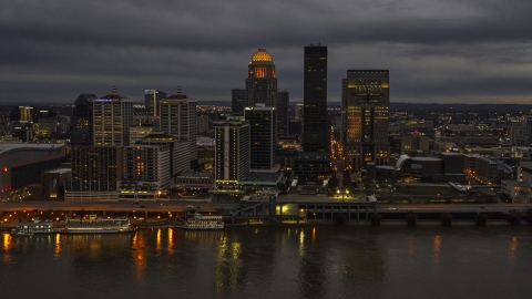 DXP001_096_0011 - Aerial stock photo of The city's skyline at night in Downtown Louisville, Kentucky