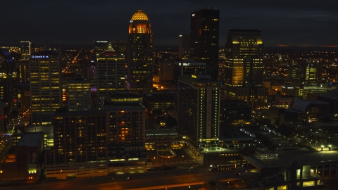 DXP001_096_0021 - Aerial stock photo of The city's skyline at twilight in Downtown Louisville, Kentucky