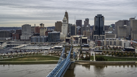 DXP001_097_0004 - Aerial stock photo of The city skyline, and bridge over the Ohio River, Downtown Cincinnati, Ohio