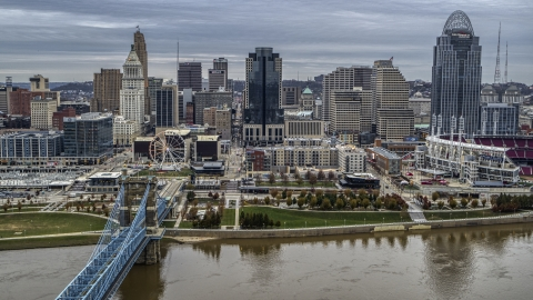 DXP001_097_0007 - Aerial stock photo of City skyline, seen from the Ohio River near bridge, Downtown Cincinnati, Ohio