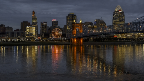 DXP001_098_0011 - Aerial stock photo of The city skyline across the Ohio River at twilight, Downtown Cincinnati, Ohio
