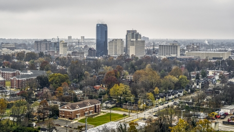 DXP001_099_0001 - Aerial stock photo of The city skyline seen from residential neighborhoods, Downtown Lexington, Kentucky