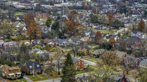 DXP001_099_0013 - Aerial stock photo of Suburban homes and quiet streets in Lexington, Kentucky