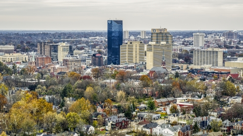 DXP001_100_0003 - Aerial stock photo of A view of the skyline in Downtown Lexington, Kentucky