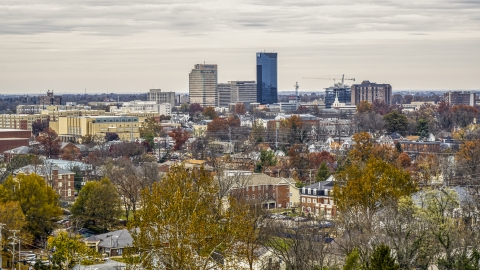 DXP001_100_0004 - Aerial stock photo of A wide view of the city's skyline in Downtown Lexington, Kentucky