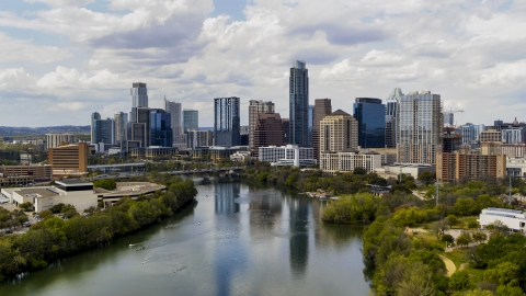 DXP002_102_0017 - Aerial stock photo of The city skyline from Lady Bird Lake, Downtown Austin, Texas