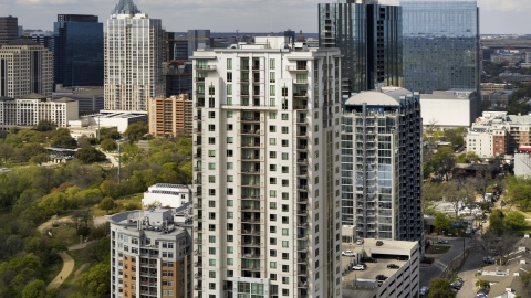 DXP002_103_0007 - Aerial stock photo of A view of a high-rise apartment building in Downtown Austin, Texas