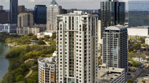 DXP002_103_0008 - Aerial stock photo of The upper floors of a high-rise apartment building in Downtown Austin, Texas