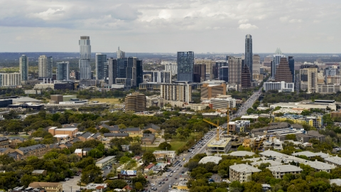 DXP002_103_0010 - Aerial stock photo of A view of the Downtown Austin, Texas skyline