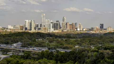 DXP002_104_0006 - Aerial stock photo of A wide view of city skyline, Downtown Austin, Texas