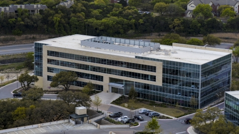 DXP002_104_0010 - Aerial stock photo of A view of a modern office building in Austin, Texas