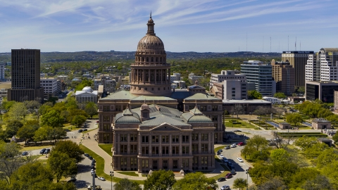 DXP002_107_0001 - Aerial stock photo of The Texas State Capitol in Downtown Austin, Texas