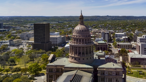DXP002_107_0004 - Aerial stock photo of The dome of Texas State Capitol, Downtown Austin, Texas