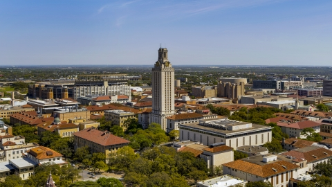 DXP002_107_0006 - Aerial stock photo of The UT Tower at the University of Texas, Austin, Texas