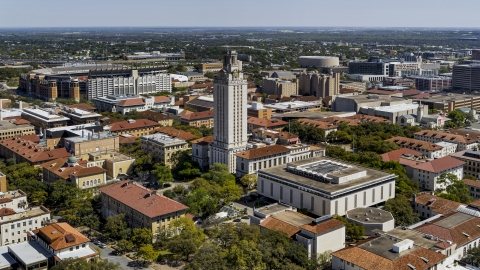 DXP002_107_0007 - Aerial stock photo of UT Tower at the center of the University of Texas, Austin, Texas