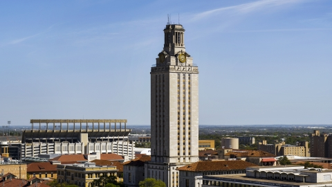 DXP002_108_0001 - Aerial stock photo of A close-up of UT Tower at the University of Texas, Austin, Texas