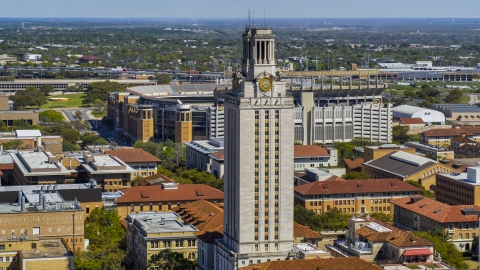 DXP002_108_0002 - Aerial stock photo of Close-up view of UT Tower at the University of Texas, Austin, Texas