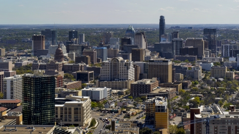 DXP002_108_0003 - Aerial stock photo of The capitol dome, office buildings and city skyline in Downtown Austin, Texas