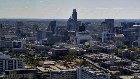 DXP002_108_0004 - Aerial stock photo of A view of the city's skyline in Downtown Austin, Texas