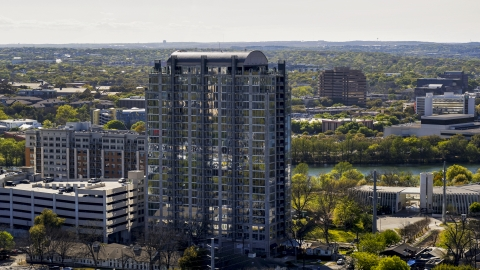 DXP002_108_0010 - Aerial stock photo of A high-rise apartment building in Downtown Austin, Texas
