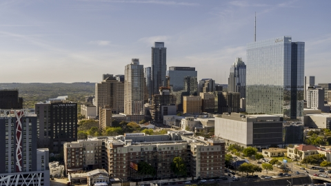 DXP002_108_0013 - Aerial stock photo of A view of tall skyscrapers and hotel high-rise in Downtown Austin, Texas