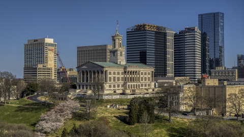 DXP002_113_0006 - Aerial stock photo of The Tennessee State Capitol building in Downtown Nashville, Tennessee