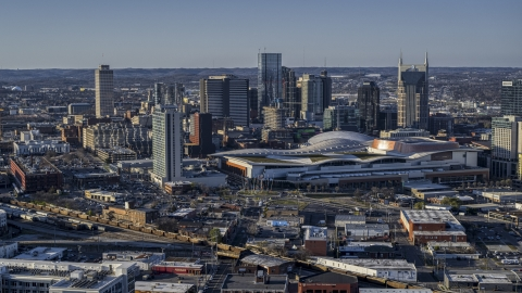 DXP002_114_0006 - Aerial stock photo of The convention center and skyline in Downtown Nashville, Tennessee