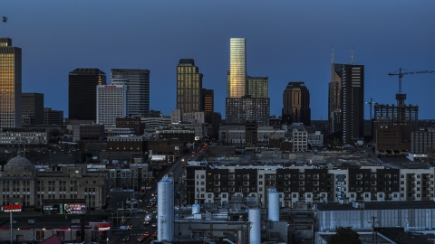 DXP002_115_0001 - Aerial stock photo of The city's skyline seen from apartments at twilight in Downtown Nashville, Tennessee