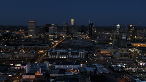 DXP002_115_0010 - Aerial stock photo of A wide view of the city skyline, high-rise under construction at twilight, Downtown Nashville, Tennessee