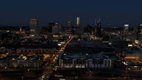 DXP002_115_0014 - Aerial stock photo of A wide view of the downtown skyline at twilight, Downtown Nashville, Tennessee