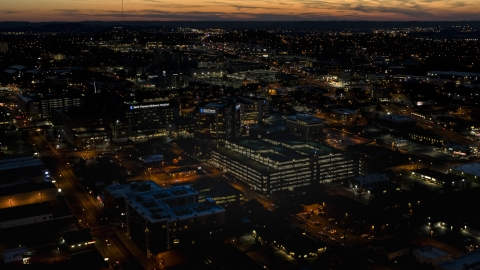 DXP002_115_0016 - Aerial stock photo of A view of a hospital complex at twilight, Nashville, Tennessee