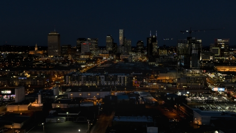 DXP002_115_0018 - Aerial stock photo of A view of the city skyline at night, Downtown Nashville, Tennessee