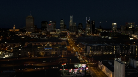 DXP002_115_0019 - Aerial stock photo of The city skyline at night seen from Church Street, Downtown Nashville, Tennessee