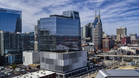 DXP002_116_0001 - Aerial stock photo of 222 2nd Avenue office high-rise in Downtown Nashville, Tennessee
