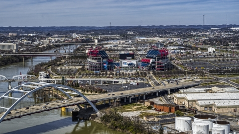 DXP002_116_0017 - Aerial stock photo of A view of Nissan Stadium from bridge in Nashville, Tennessee