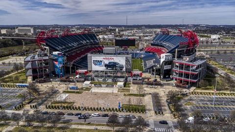 DXP002_117_0001 - Aerial stock photo of Nissan Stadium in Nashville, Tennessee
